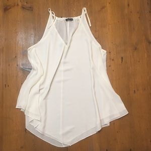 Tops - C. Lective Tunic Tank Halter Ivory White Lined med